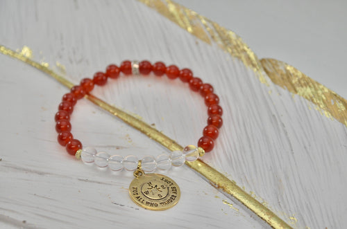 Carnelian and Clear Quartz Healing Charm Bracelet: Vitality Bracelet * Motivational Bracelet * Courage * Energy Bracelet * Depression *