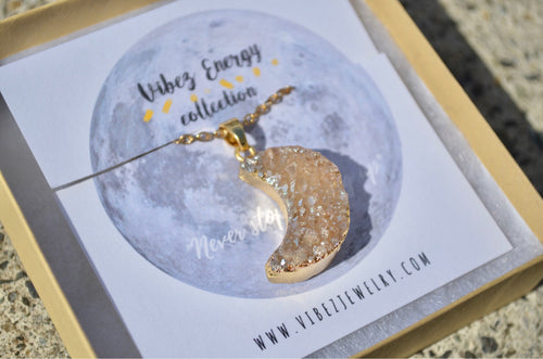 Gold Plated Moon Druzy Pendant Necklace! Electroplated Druzy, Healing Stone, Agate Necklace, Gold Moon Jewelry, Crescent Moon, Full Moon