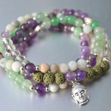Connect To The Source: Diffuser Mala Bracelet, 108 Mala, Amethyst Mala, Amethyst Mala Beads, Prayer Mala, Buddha Mala, Green and Purple