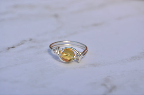 Citrine Silver Ring: Energy Ring, November Ring, Yellow Citrine Ring, Real Citrine, Genuine Citrine, November Birthday, Meditation Ring