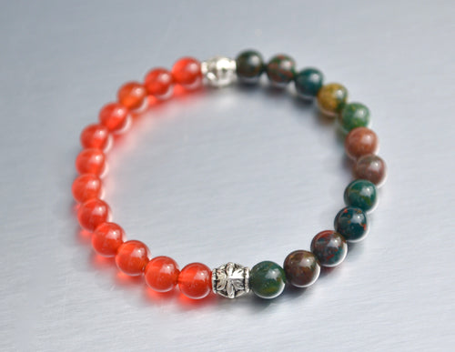 Bloodstone & Carnelian - Renewal, Motivation, and Protection Energy Healing Bracelet