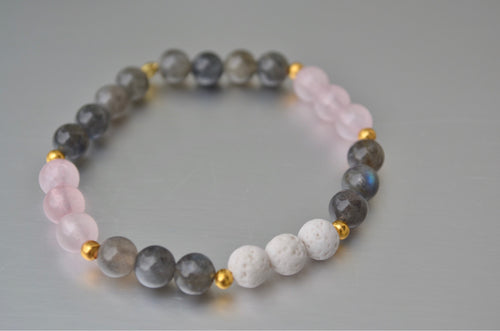 Love & Change: Labradorite and Rose Quartz Healing Aroma Diffuser Bracelet White Lava Rock, Pink and Irredecent Grey Crystal