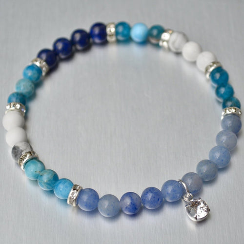 Blue Crystal Bracelet: Healing, Health, Weight-loss, Communication, Peace, Harmony