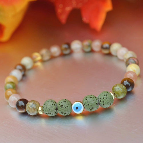 Autumn Energy* Lava Diffuser Evil Eye Bracelet: Luck* Vitality* Strength* Positivity* Energy Crystals, Moonstone, Citrine, Sunstone, Lava