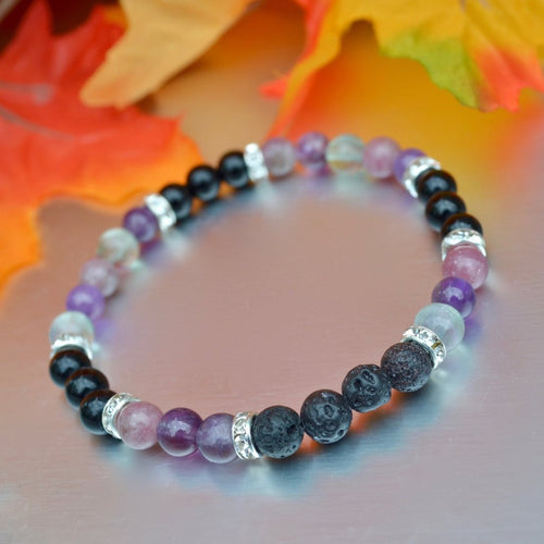 Focus and Creativity Purple Crystal Energy Bracelet: Lava Rock Diffuser, Amethyst, Fluorite, Lepidolite, Magical Bracelet, Healing Gifts