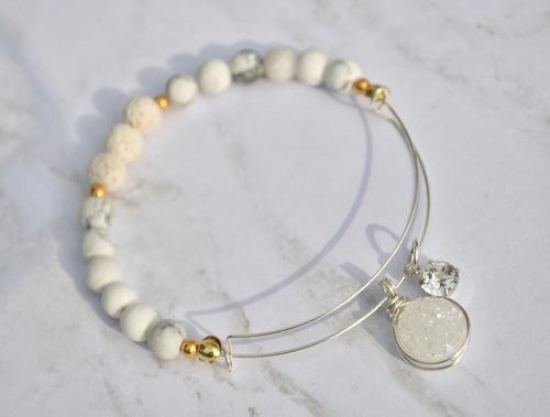 Healing White Diffuser Bangle: Howlite, Swarovski & Druzy Charm Bangle - Calming, Sleep Aid, Stress Relief. Adjustable beaded bracelet