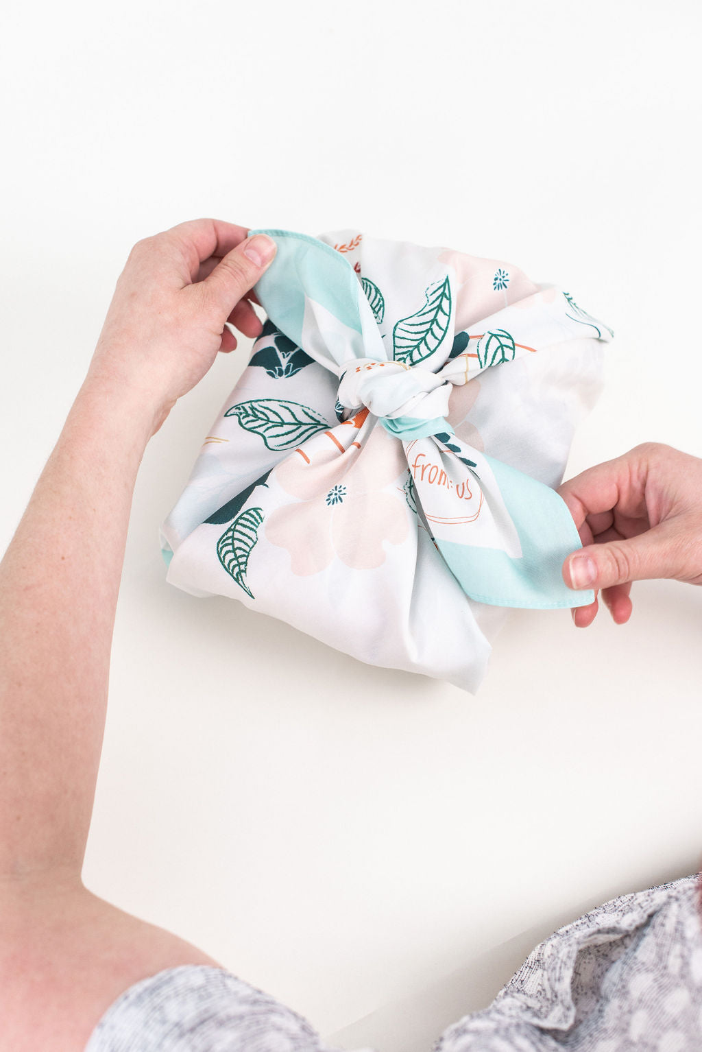 Custom Furoshiki wrap for From:Us gifting by Wrappr