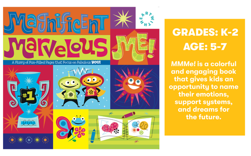 MMMe! is a colorful and engaging book that gives kids an opportunity to name their emotions, support systems, and dreams for  the future.