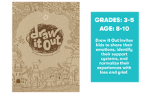Draw It Out invites kids to share their emotions, identify their support systems, and normalize their experiences with  loss and grief.