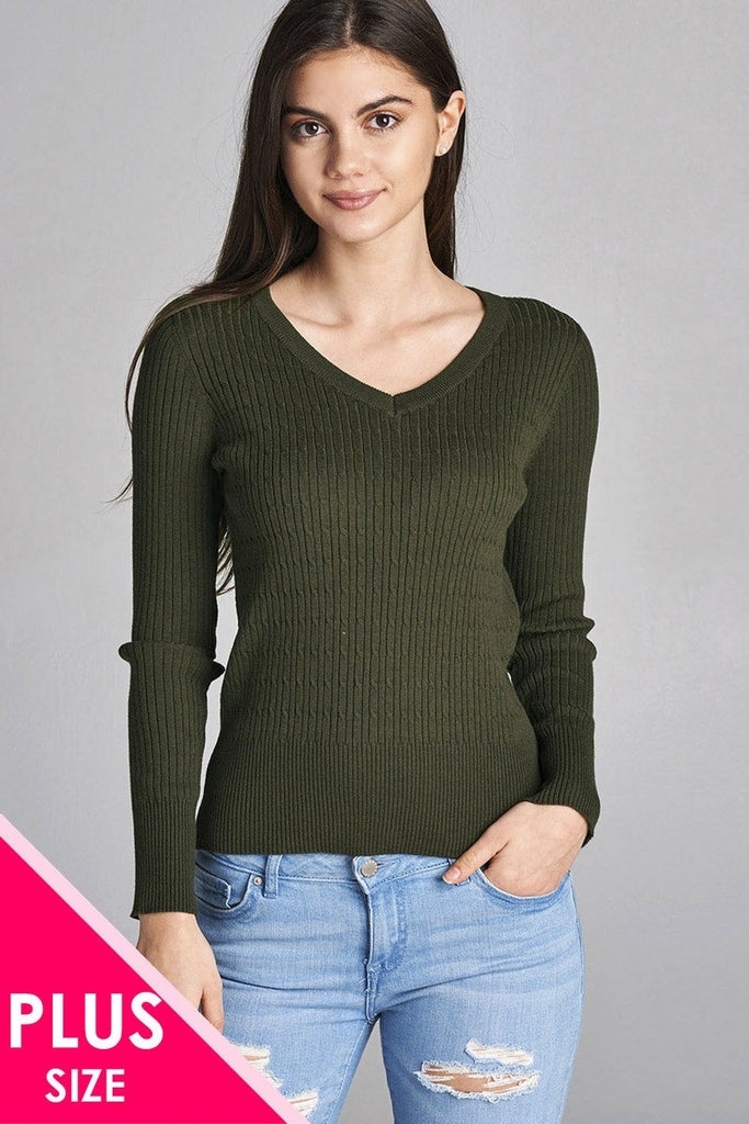 e63121df4a Plus size Olive long sleeve v-neck cable knit classic sweater ...