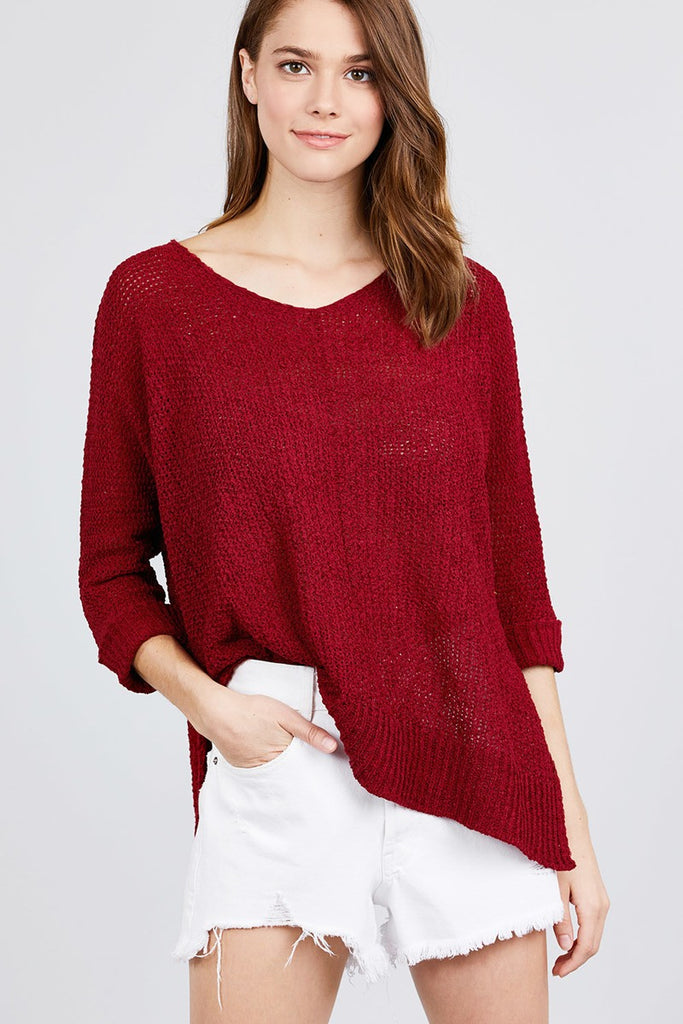 Burgundy 3/4 Sleeve Side Slits Fish Net Sweater Top