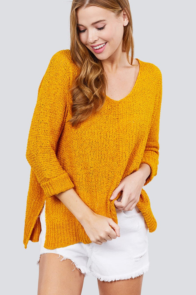 Yellow 3/4 Sleeve Side Slits Fish Net Sweater Top