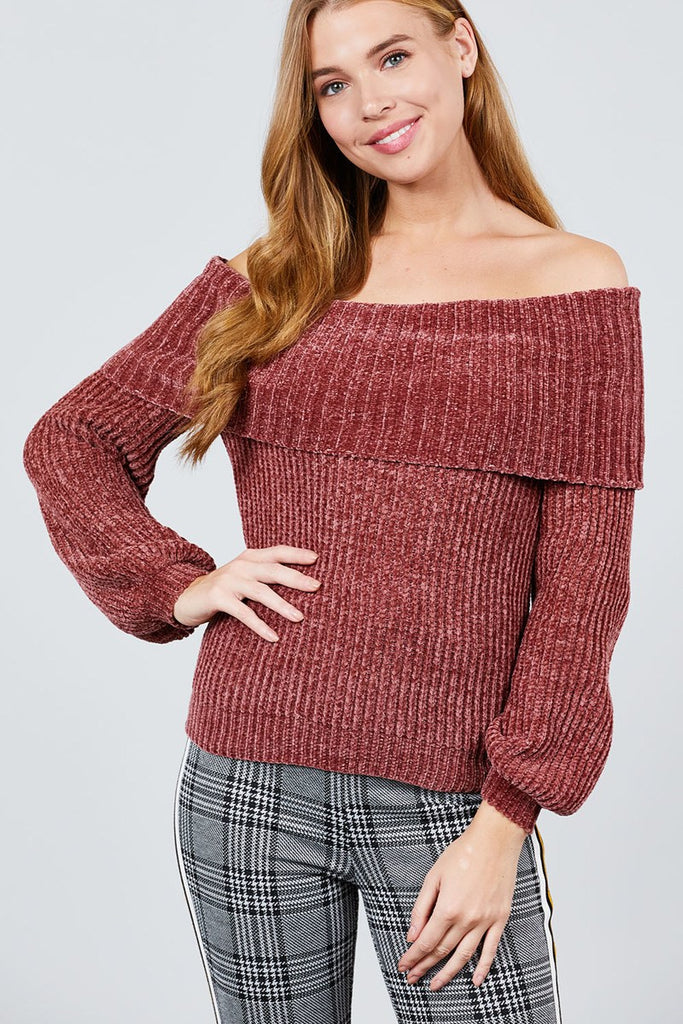 Red Long Sleeve Fold Over Off The Shoulder Chenille Sweater