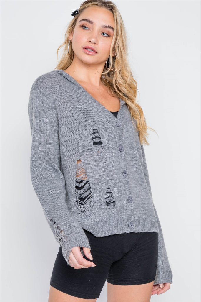 Grey Knit Distressed Hooded Button-front Sweater