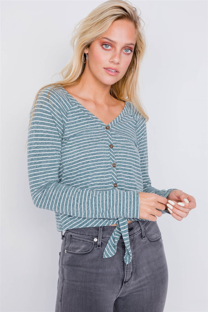Spruce Washed Cotton Front Tie Crop Top