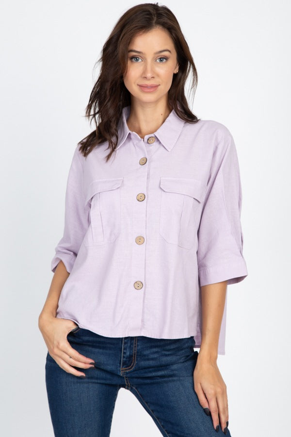 Lavender High Low Button Front Shirt