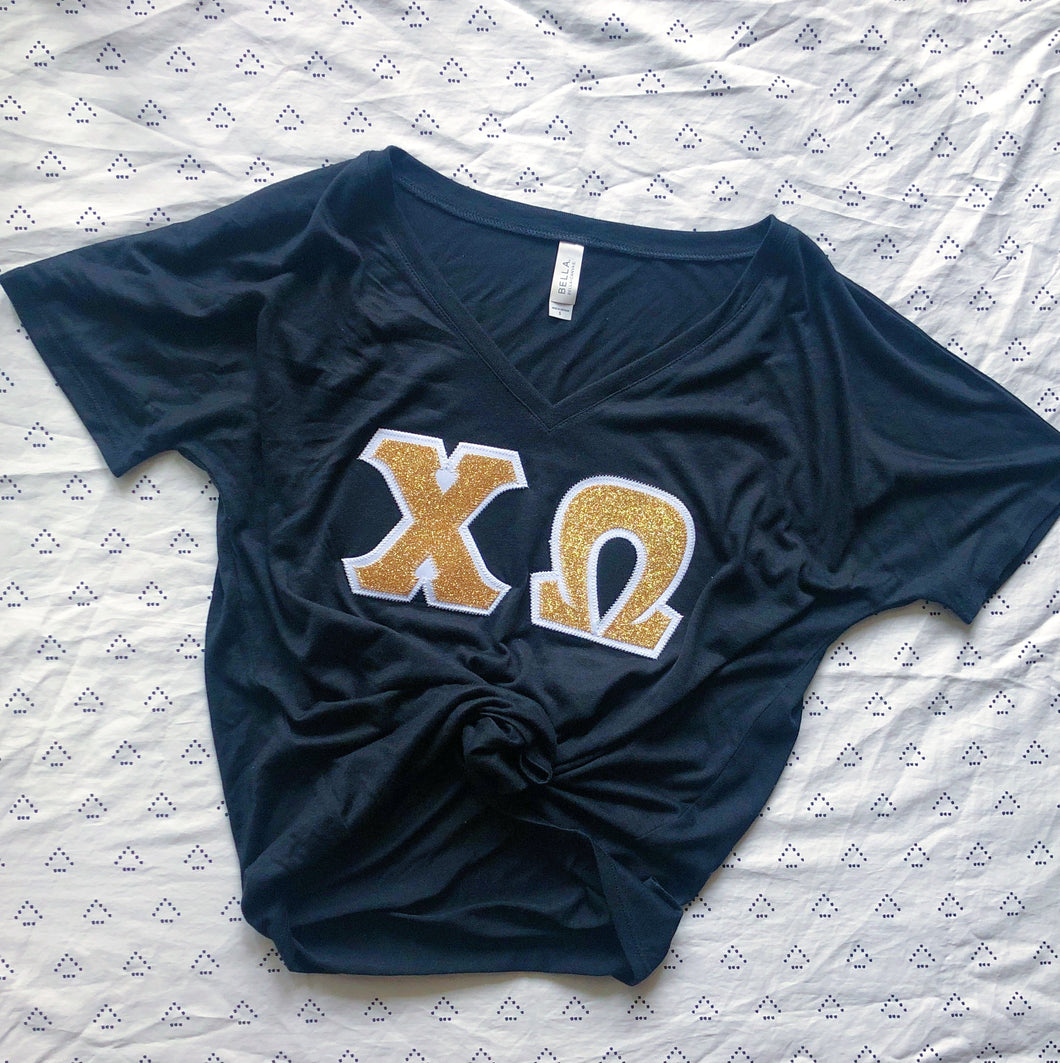 Gold Glitter Greek Letter Shirt