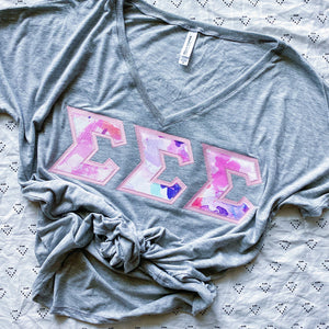 Pink & Purple Watercolor Marble Greek Letter Shirt