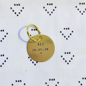 """Initials and Date w/ Heart"" Hand-Stamped Keychain"