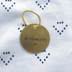 """Be Fearless w/ Mountain Range"" Hand-Stamped Keychain"
