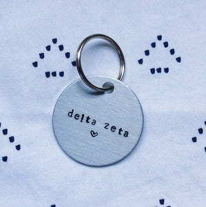 """Sorority Chapter Name w/ Heart"" Hand-Stamped Keychain"
