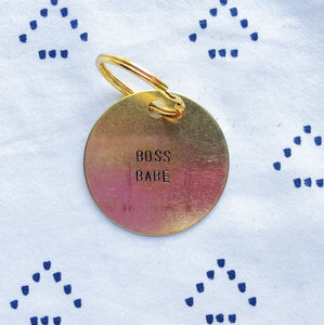 """Boss Babe"" Hand-Stamped Keychain"