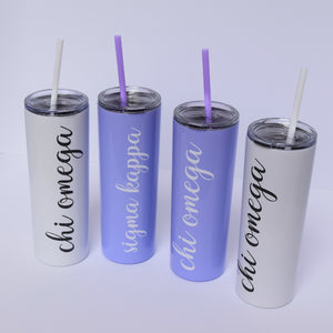 Personalized Cursive Greek Skinny Stainless Steel Tumbler (20 ounces)
