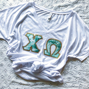 Green and Gold Marble Greek Letter Shirt