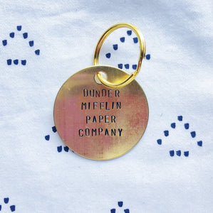 """Dunder Mifflin Paper Company"" Hand-Stamped Keychain"