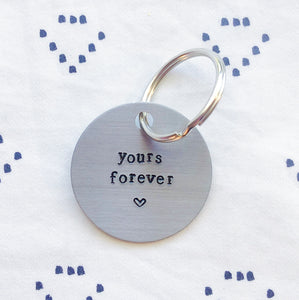 """Yours Forever w/ Heart"" Hand-Stamped Keychain - Chi Omega"