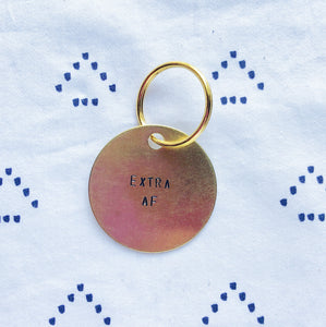 """Extra AF"" Hand-Stamped Keychain"