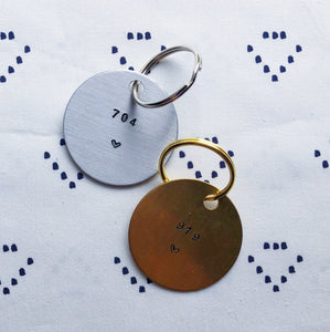 """Area Code w/ Heart"" Hand-Stamped Keychain"