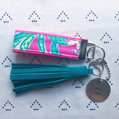 Lilly Pulitzer Pink Trunk Show Key Fob Wristlet