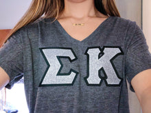 Silver Glitter Greek Letter Shirt