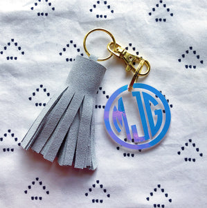 Light Grey Suede Tassel Keychain - Mini XL