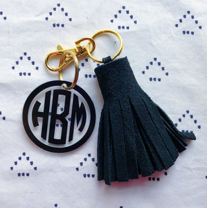 Black Suede Tassel Keychain - Mini XL