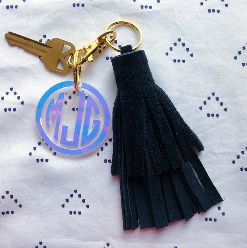 Black Suede Tassel Keychain - Layered