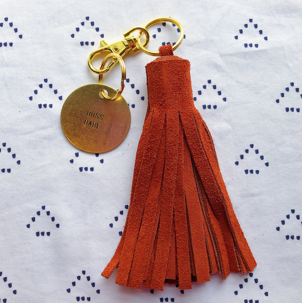 Burnt Orange Suede Tassel Keychain - Jumbo XL
