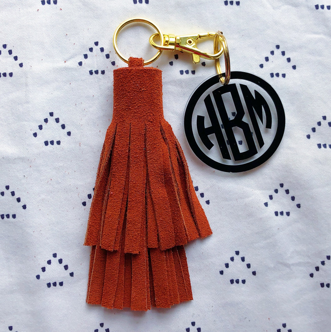 Burnt Orange Suede Tassel Keychain - Layered