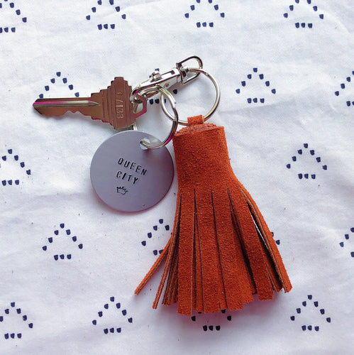 Burnt Orange Suede Tassel Keychain - Mini XL