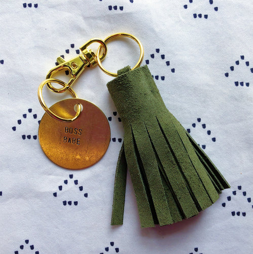 Hunter Green Suede Tassel Keychain - Mini XL
