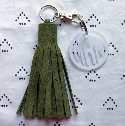 Hunter Green Suede Tassel Keychain - Jumbo XL