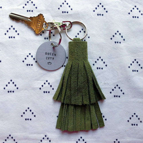 Hunter Green Suede Tassel Keychain - Layered