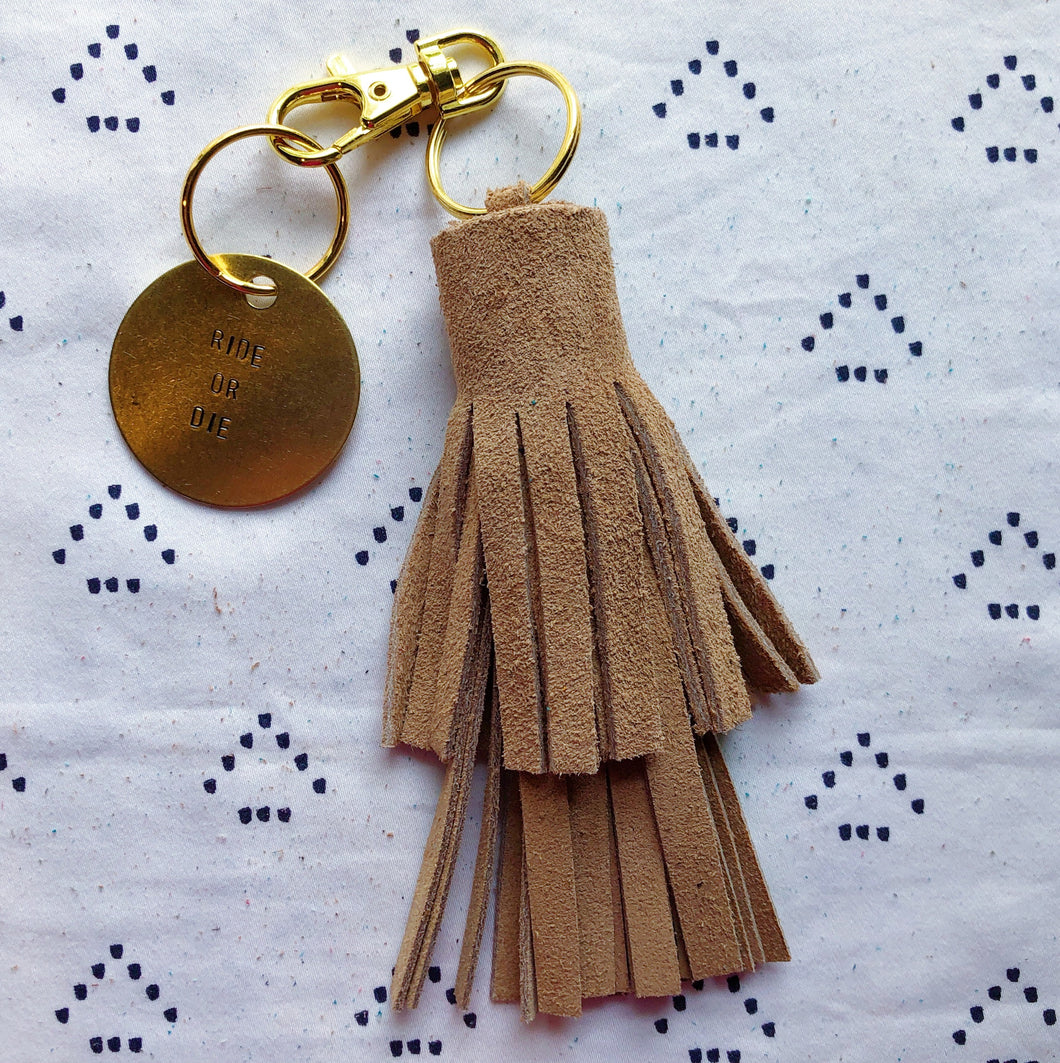 Tan Suede Tassel Keychain - Layered