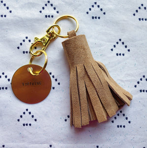Tan Suede Tassel Keychain - Mini XL