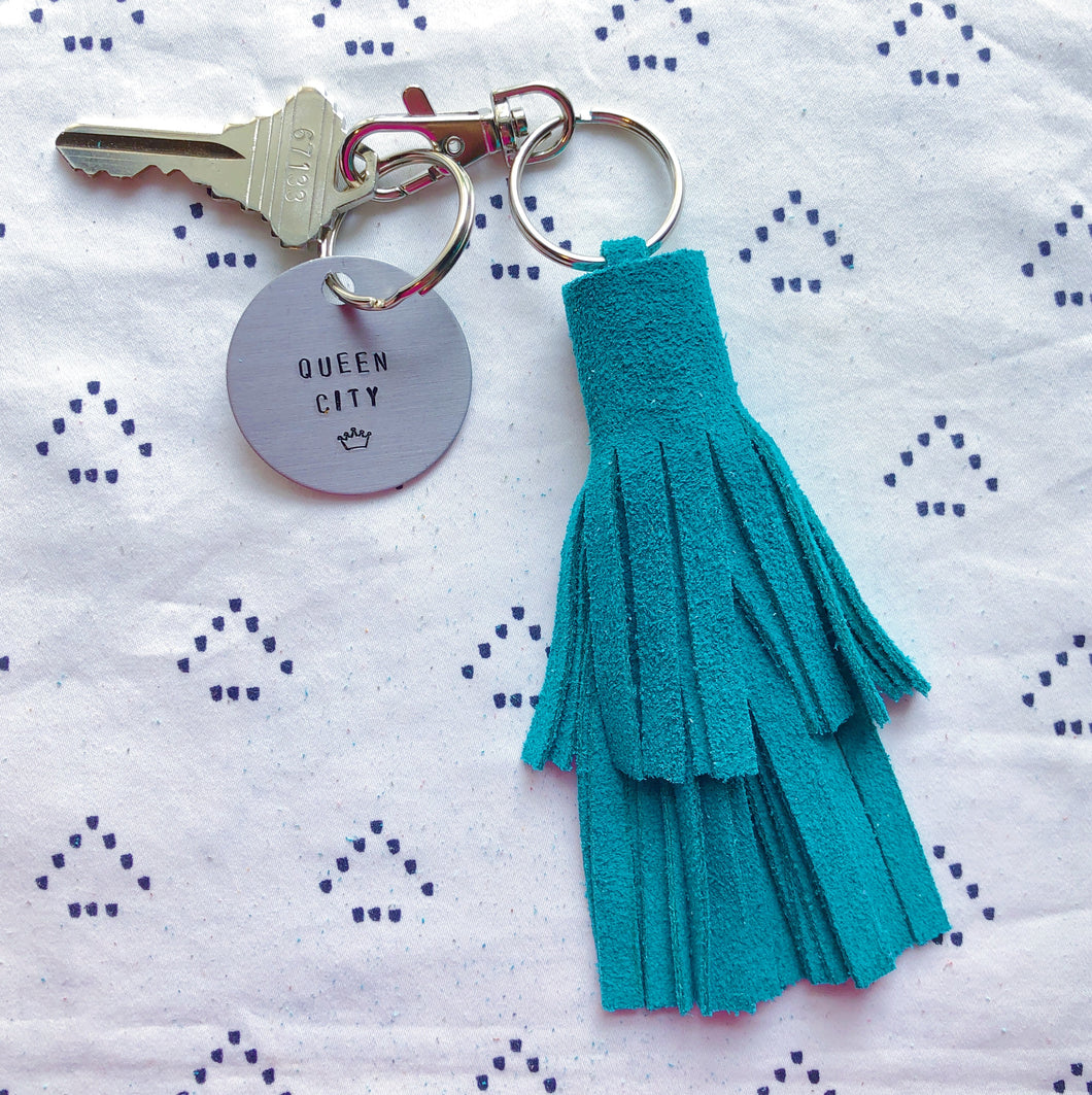 Turquoise Suede Tassel Keychain - Layered