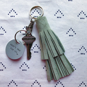 Light Green Suede Tassel Keychain - Layered