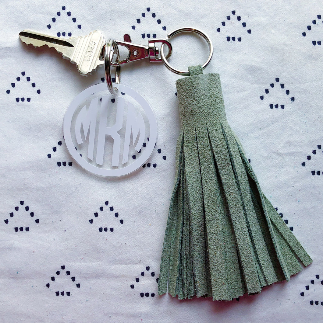 Light Green Suede Tassel Keychain - Jumbo XL