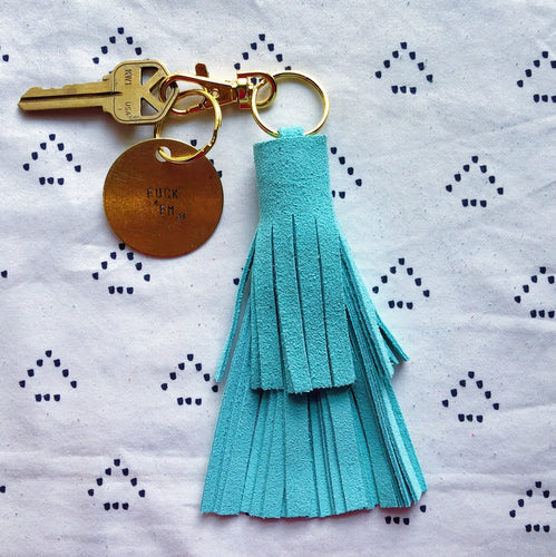 Mint Blue Suede Tassel Keychain - Layered