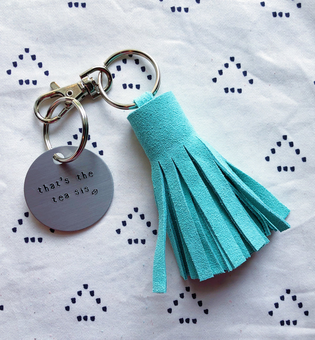 Mint Blue Suede Tassel Keychain - Mini XL